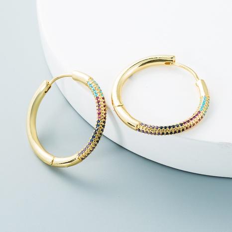 vente en gros bijoux boucles d'oreilles simples géométriques rondes en cuivre zircon Nihaojewelry NHYIS384790's discount tags