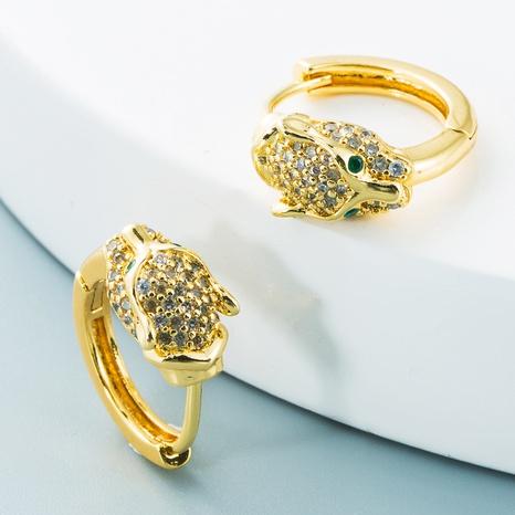 wholesale jewelry leopard head brass inlaid zircon fashion earrings Nihaojewelry NHYIS384791's discount tags