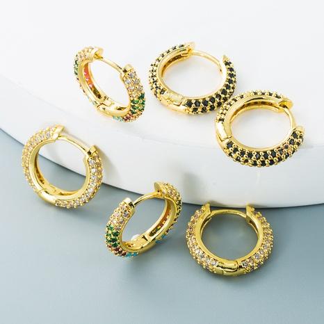 vente en gros bijoux boucles d'oreilles en cuivre géométriques double face en forme de C Nihaojewelry NHYIS384792's discount tags