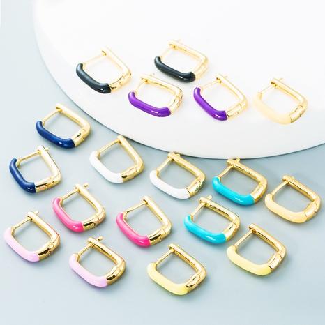 Nihaojewelry bijoux en gros simples boucles d'oreilles gouttes en cuivre coloré géométrique NHYIS384793's discount tags