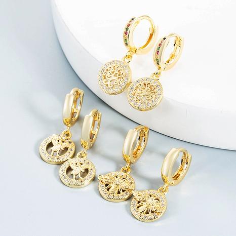 Nihaojewelry bijoux en gros simples boucles d'oreilles en cuivre attrape-rêves ange creux abeille NHYIS384794's discount tags