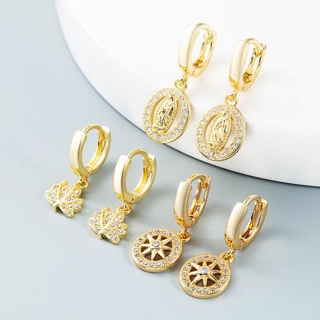 vente en gros bijoux simples feuilles de soleil creuses Vierge Marie boucles d'oreilles en cuivre Nihaojewelry NHYIS384796's discount tags