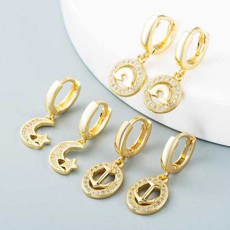 Nihaojewelry bijoux en gros coréen ancre creuse étoile lune nuage boucles d'oreilles en cuivre NHYIS384798's discount tags