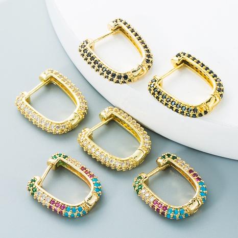 JNihaojewelry bijoux en gros simple boucle d'oreille en zircon couleur incrustée de cuivre en forme de U double face NHYIS384799's discount tags