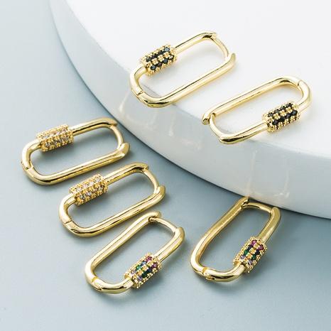 Nihaojewelry bijoux en gros style simple mousqueton incrusté de cuivre couleur zircon boucle d'oreille NHYIS384800's discount tags