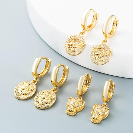 Nihaojewelry bijoux en gros simples creux roi lion tête de léopard aigle boucles d'oreilles en cuivre NHYIS384801's discount tags