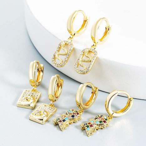 Nihaojewelry bijoux en gros simples boucles d'oreilles en cuivre pendentif dinosaure léopard en forme de serpent NHYIS384803's discount tags