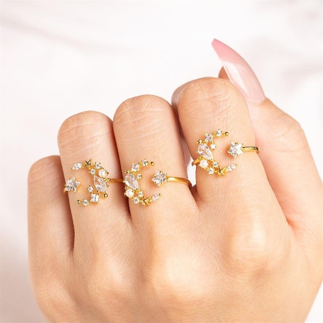 wholesale jewelry star moon copper inlaid zircon open ring nihaojewelry  NHUW384815's discount tags