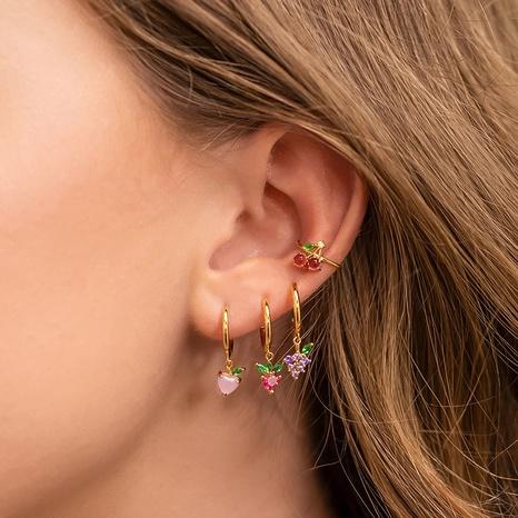 wholesale bijoux couleur zirconium raisin cerise ananas fruits boucles d'oreilles en cuivre Nihaojewelry NHUW384830's discount tags