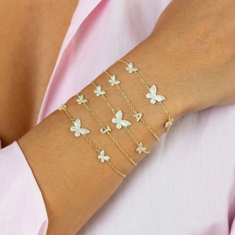 Vente en gros bijoux bracelet en cuivre papillon zircon micro-incrusté Nihaojewelry NHUW384859's discount tags