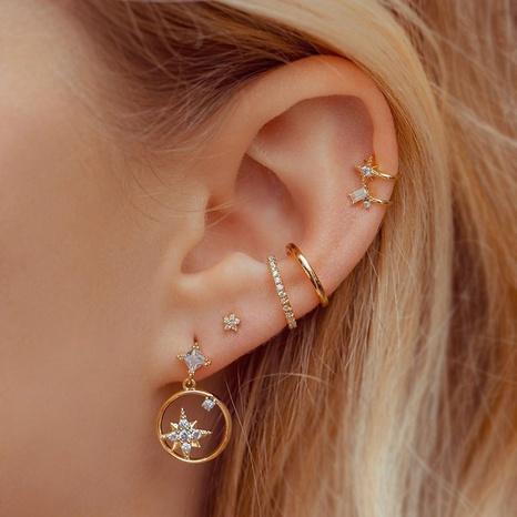 vente en gros bijoux ensemble de boucles d'oreilles papillon étoile et lune romantique Nihaojewelry NHUW384864's discount tags