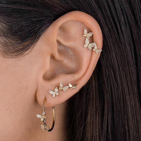 Vente en gros bijoux papillon boucles d'oreilles de style coréen en zircon micro incrusté Nihaojewelry NHUW384876's discount tags