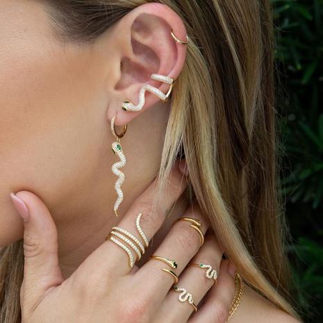 vente en gros bijoux mode serpent micro-incrusté zircon cuivre collier boucles d'oreilles Nihaojewelry NHUW384878's discount tags