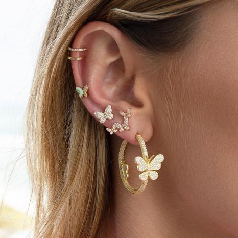 vente en gros bijoux papillon boucles d'oreilles en zircon micro incrusté en forme de C Nihaojewelry NHUW384879's discount tags