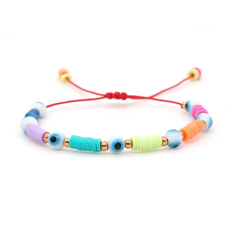 wholesale jewelry bohemian color soft pottery beaded glass eye bracelet Nihaojewelry NHYUZ384895's discount tags