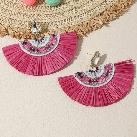 wholesale Jewelrycolor Baststickerei Fan Form Ethno-Stil Ohrringe Nihaojewelry NHNZ384939's discount tags