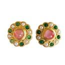 wholesale jewelry retro inlaid color pearl stud earrings nihaojewelry  NHOM385096