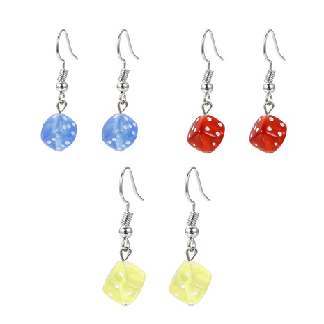 wholesale jewelry candy color dice acrylic earrings set Nihaojewelry NHMO385166's discount tags