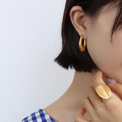 vente en gros bijoux boucles d'oreilles ovales en forme de U en acier inoxydable Nihaojewelry NHJIE385170's discount tags