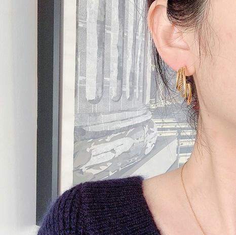 vente en gros bijoux boucles d'oreilles de mode en acier inoxydable cercle à trois couches Nihaojewelry NHJIE385172's discount tags
