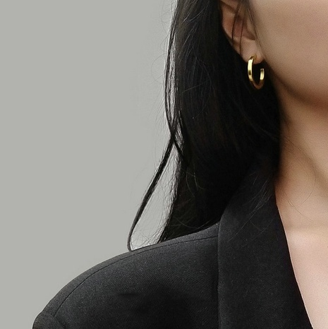 vente en gros bijoux boucles d'oreilles en acier inoxydable en forme de C Nihaojewelry NHJIE385176's discount tags