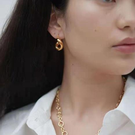 vente en gros bijoux boucles d'oreilles de mode en acier inoxydable géométrique de forme ovale Nihaojewelry NHJIE385178's discount tags
