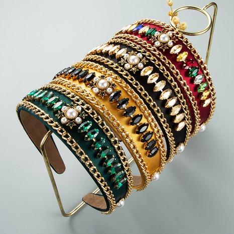 wholesale jewelry retro alloy chain pearl diamond  headband Nihaojewelry NHLN385265's discount tags