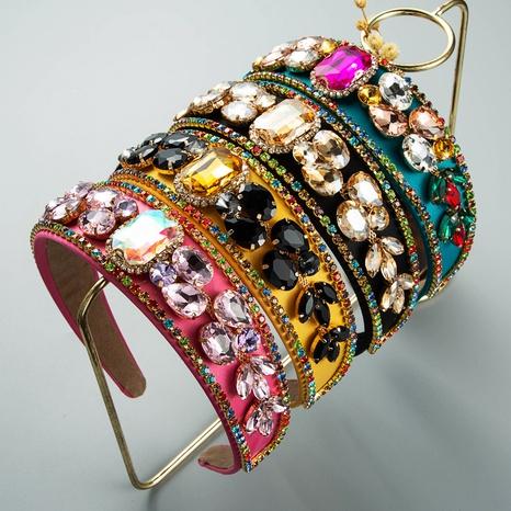 wholesale jewelry Baroque inlaid rhinestones gemstones fabric headband Nihaojewelry NHLN385267's discount tags