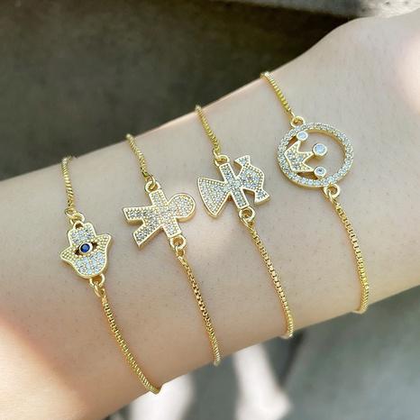 Vente en gros bijoux couronne incrustée de zircon bracelet en cuivre Nihaojewelry NHAS385330's discount tags