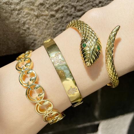 wholesale bijoux creux sourire visage forme de serpent bracelet zircon incrusté Nihaojewelry NHAS385332's discount tags