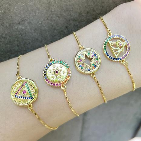 Bijoux en gros incrustés de zircons colorés triangle pyramide bracelet en cuivre Nihaojewelry NHAS385333's discount tags