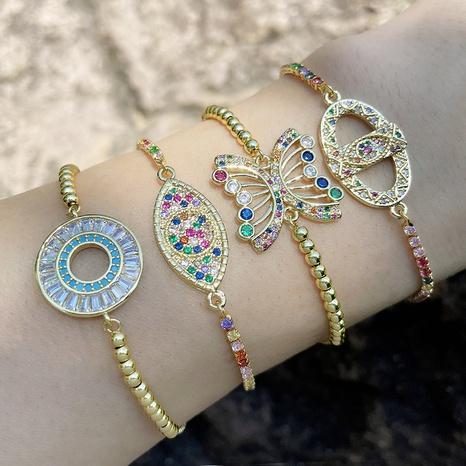 vente en gros bijoux bracelet en cuivre papillon zircon couleur bohème Nihaojewelry NHAS385334's discount tags