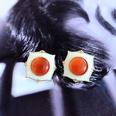 NHOM1784980-Orange-resin-white-drip-glaze-earrings-1.8CM