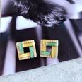 NHOM1784983-Square-drip-glaze-pearl-silver-pin-stud-earrings