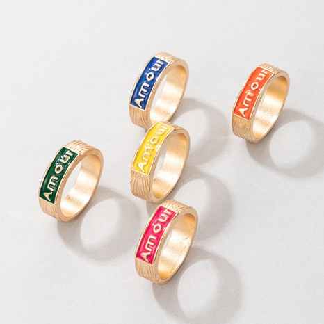 Nihaojewelry Großhandel Schmuck neue einfache Farbe Tropfring 5-teiliges Set NHGY387118's discount tags