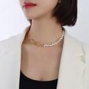 Nihaojewelry wholesale jewelry Baroque titanium steel oval geometric chain pearl necklace NHOK385403