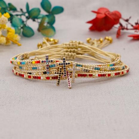 Nihaojewelry wholesale accessories ethnic style diamond cross Miyuki beads woven bracelet  NHGW385430's discount tags