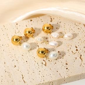 wholesale jewelry stainless steel pearl pendant earrings Nihaojewelry NHJIE385436