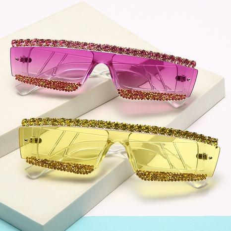 Vente en gros lunettes de soleil en diamant de couleur incrustée à monture irrégulière nihaojewelry NHMSG385831's discount tags