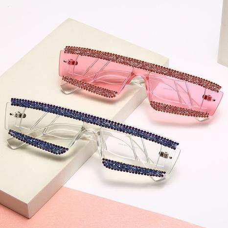 Vente en gros lunettes de soleil en diamant de couleur incrustée à monture irrégulière transparente nihaojewelry NHMSG385832's discount tags