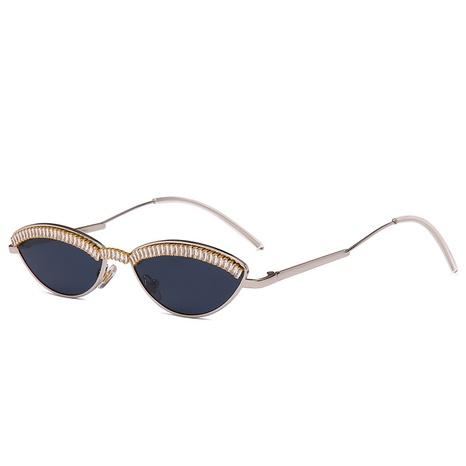 wholesale retro oval small frame inlaid zircon sunglasses nihaojewelry  NHMSG385837's discount tags