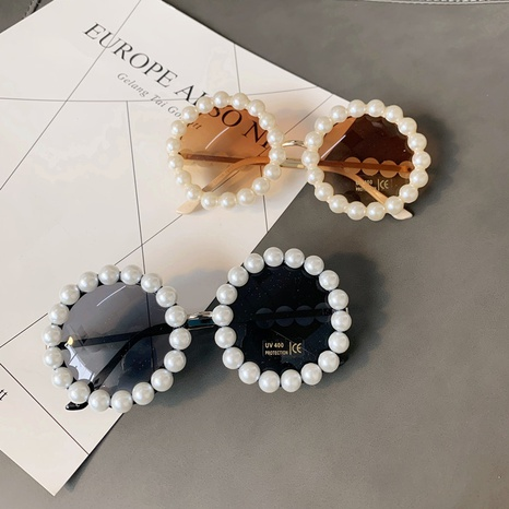 wholesale metal round frame inlaid pearl sunglasses nihaojewelry  NHMSG385854's discount tags