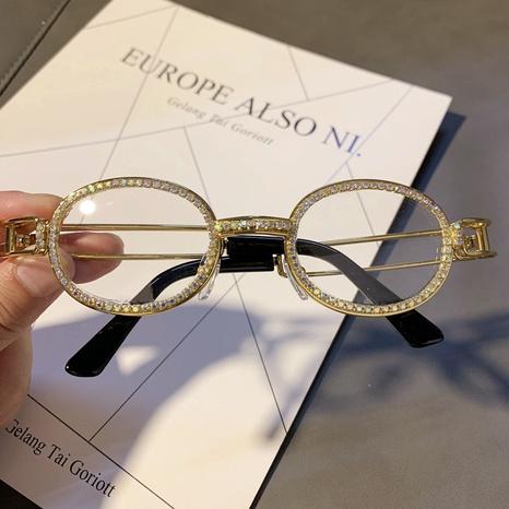 wholesale oval flat frame inlaid rhinestone sunglasses nihaojewelry  NHMSG385853's discount tags