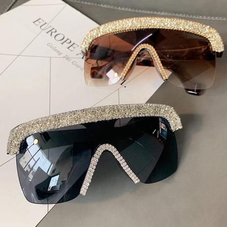 vente en gros grandes lunettes de soleil en diamant incrustées à demi-cerclées nihaojewelry NHMSG385856's discount tags