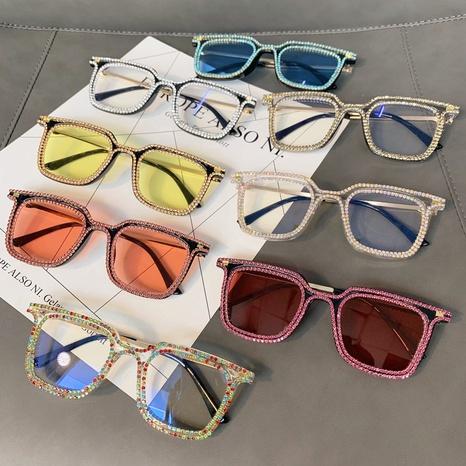 Vente en gros lunettes de soleil en diamant incrusté de monture carrée avec lentille de couleur nihaojewelry NHMSG385861's discount tags