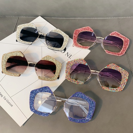 wholesale fashion polygon frame inlaid color diamond sunglasses nihaojewelry  NHMSG385864's discount tags