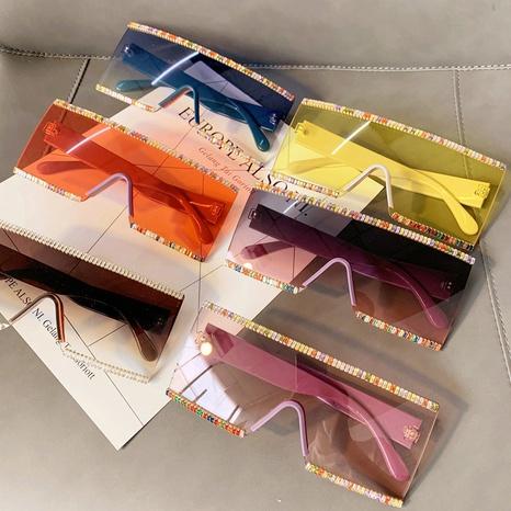 Vente en gros lunettes de soleil en zircone couleur une pièce à monture carrée nihaojewelry NHMSG385868's discount tags
