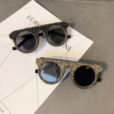 wholesale round frame inlaid diamond sunglasses nihaojewelry  NHMSG385870's discount tags
