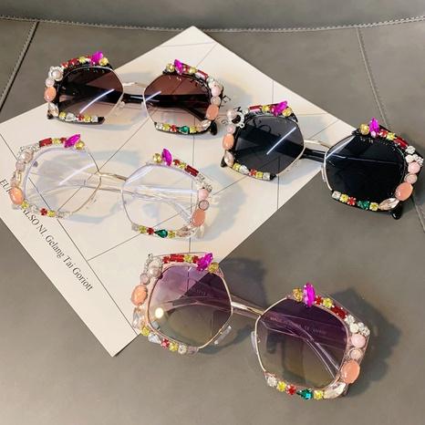 Vente en gros lunettes de soleil incrustées à monture polygonale nihaojewelry NHMSG385872's discount tags