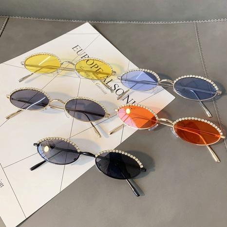 Vente en gros lunettes de soleil à monture ovale incrustée de diamants nihaojewelry NHMSG385874's discount tags